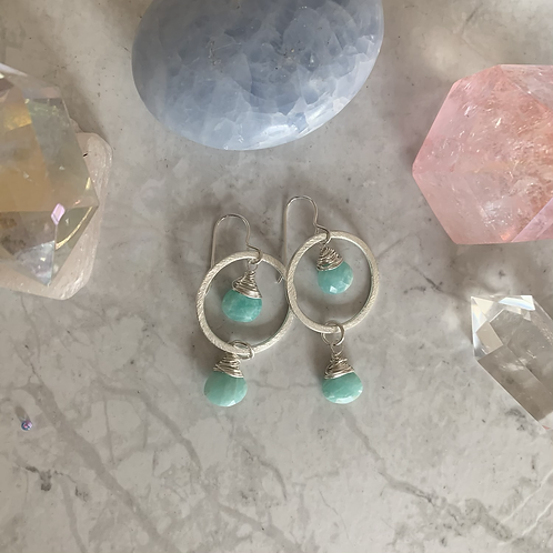 Silver Double Amazonite Hoop Drops