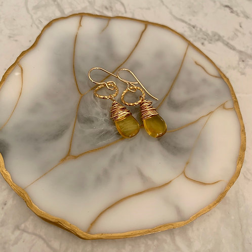 Golden Wrapped Citrine Drops