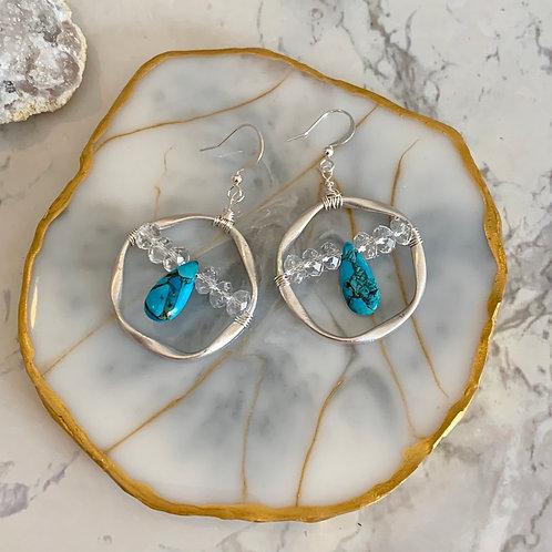 Turquoise Swarovski  Hoop
