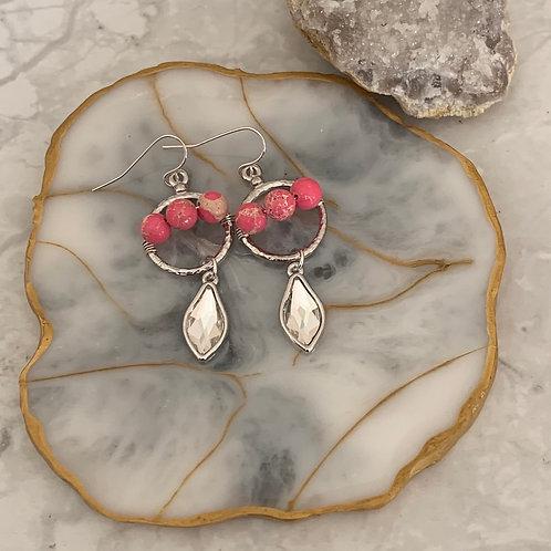 Pink Sea Jasper & Silver Minis