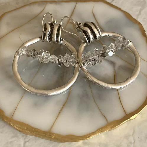 Herkimer Diamond Wrapped Hoops