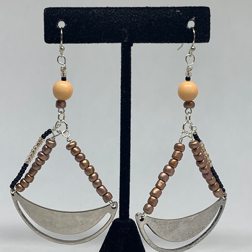 Bronzed Silver Beaded Crescents