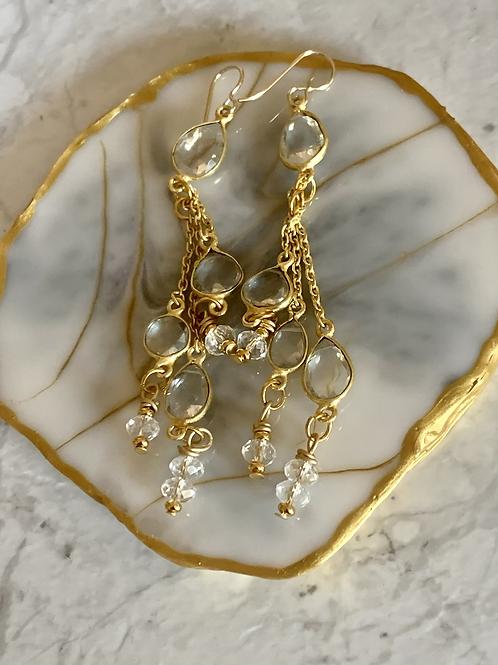 Elegantly Long Golden Crystal Quartz Dangles