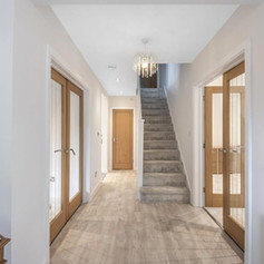 hallway with white walls