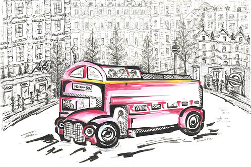 Iconic Model In Iconic Land (Red Bus). A3 size