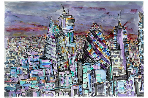 Shape Of London- The Gherkin   A3 size Print