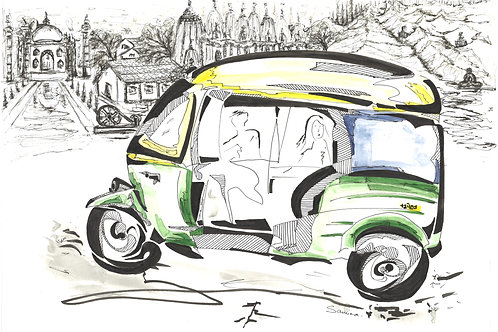 Iconic Model In Iconic Land (Tuk-Tuk ). A3 size