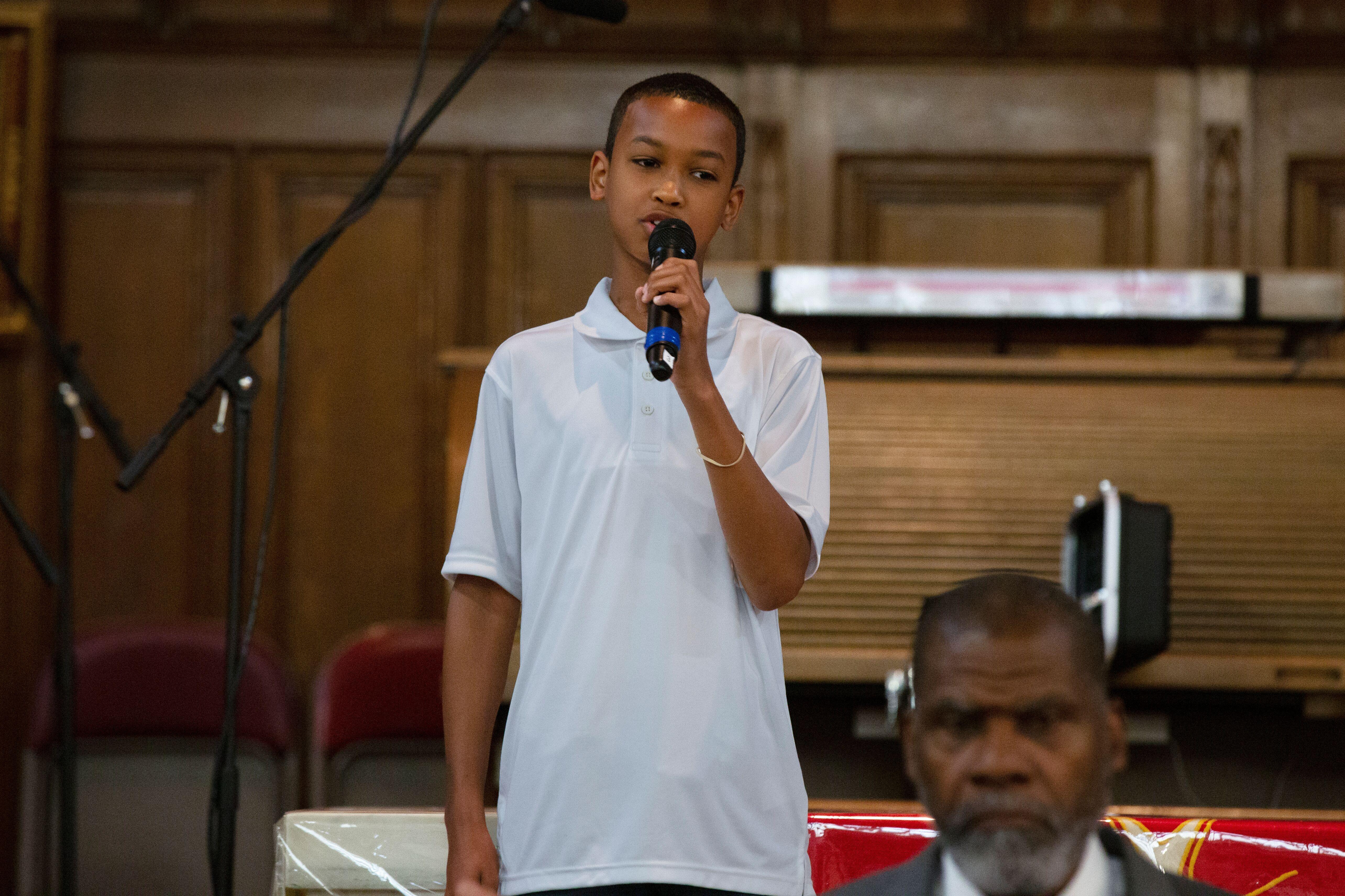 Boy speaking