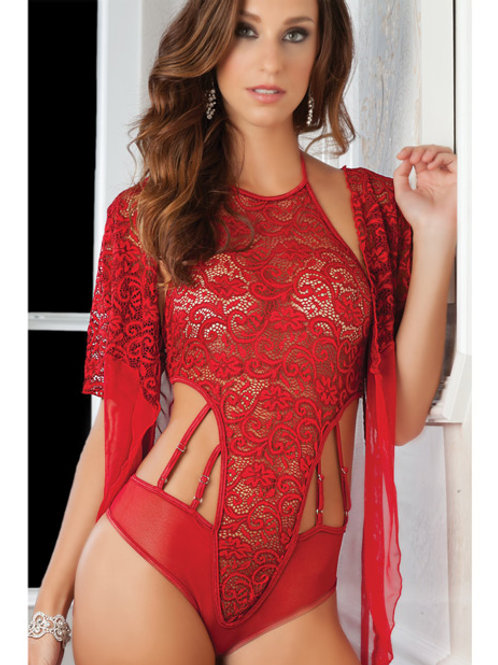 High Neck Lace Halter Teddy