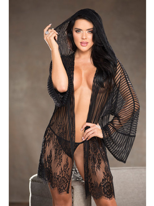 Lace Robe w/Fashionable Hood
