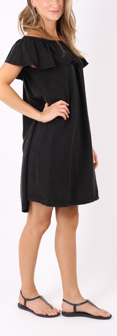 Volanto neckline ドレス Black