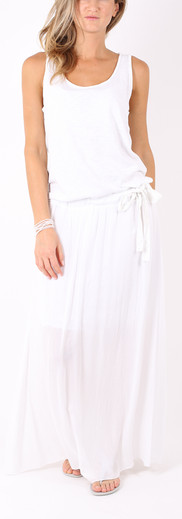 ロングドレス リボン White