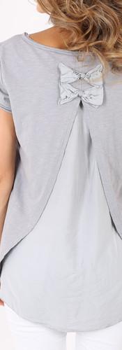 Tシャツ ダブルリボン Grey