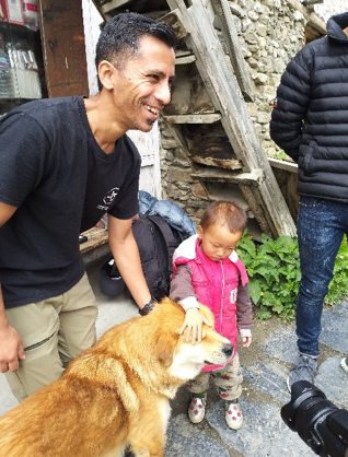 Ajay with a community dog