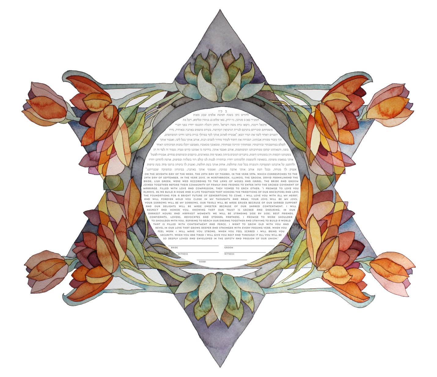 """""""Tulips and Succulents"""" ketubah"""