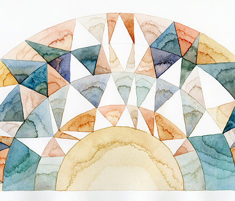 """Labradorite sunstone"", 22 x 8, watercolor on cotton rag"