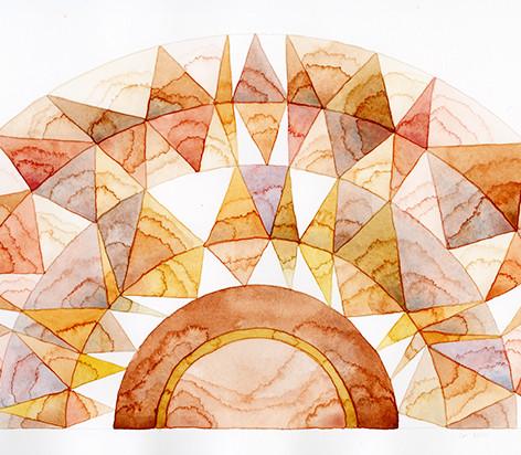 """carnelian and amber sunstone"", 22 x 8, watercolor on cotton rag, 2019"