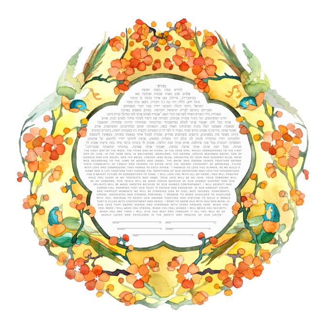 new painted ketubah: birds and blossoms