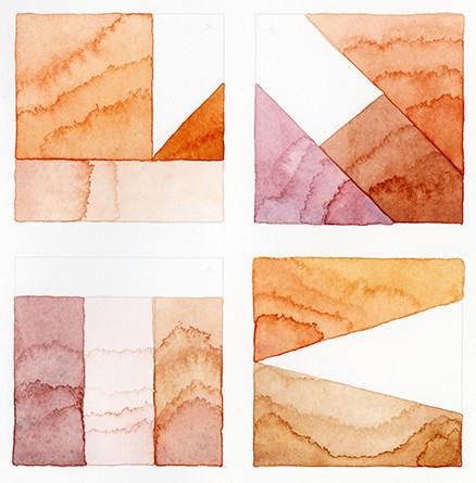 """False Flag in Rose Quartz and Carnelian"" detail, watercolor on cotton rag, 2019"