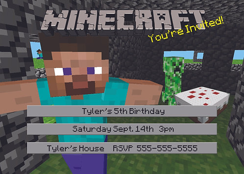 Minecraft 02 Personalized Party Invitation