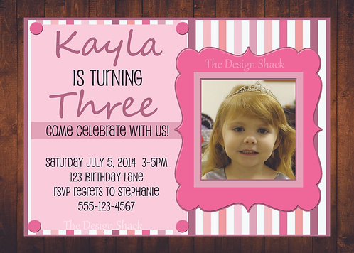 Pink Striped Personalized Party Invite