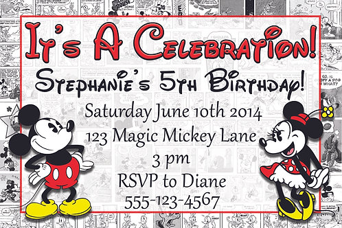 Retro Mickey & Minnie Personalized Party Invite