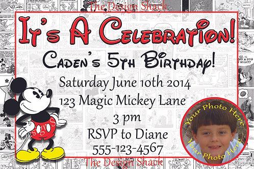 Retro Mickey Mouse Personalized Party Invitation