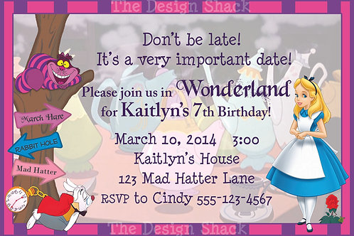 Alice in Wonderland Personalized Party Invitation