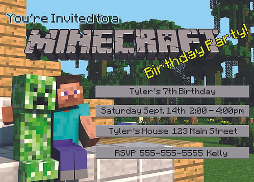 Minecraft 03 Personalized Party Invitation