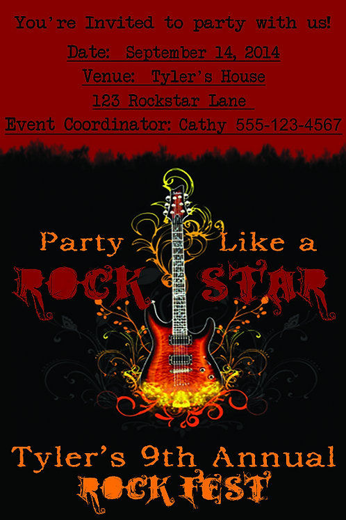 Party Like A Rock Star - Personalized Party Invite