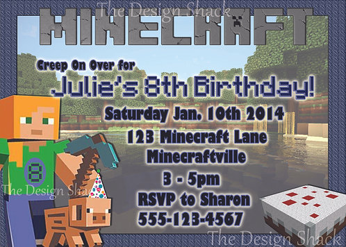 Minecraft Personalized Party Invitation