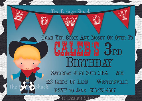 Lil' Cowboy Personalized Party Invitation