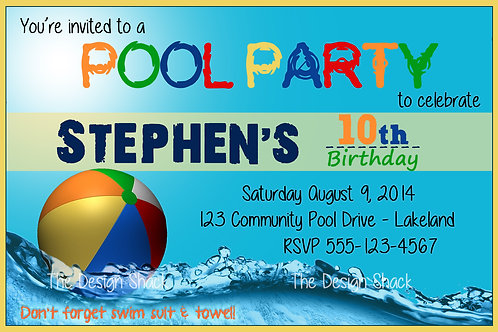 Pool Party Personalized Invite