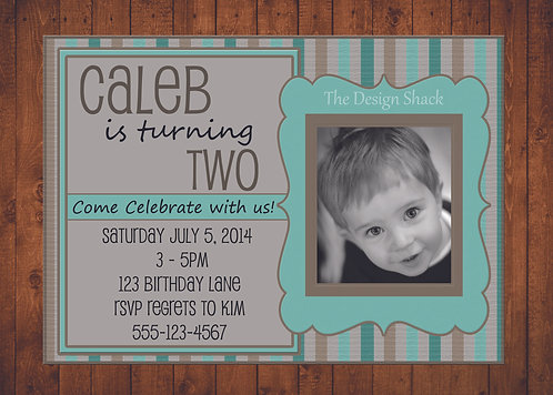 Teal Striped Personalized Party Invite