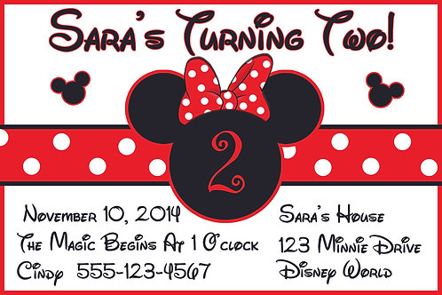 Minnie Mouse 1  - Personalized Party Invitation