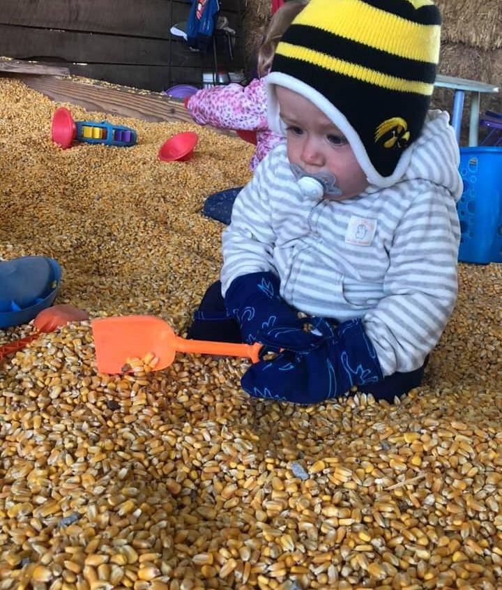 baby in corn pool