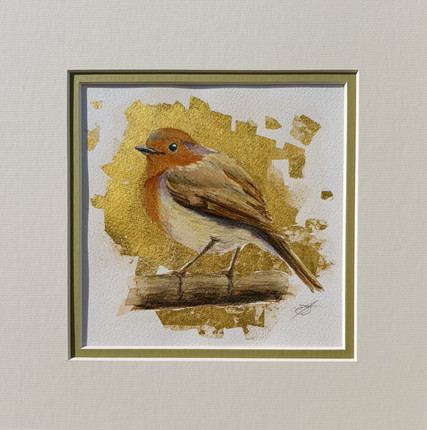 Robin with Gold Leaf