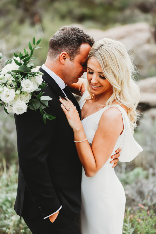 bride and groom at desert wedding. Wedding photographer in Arizona