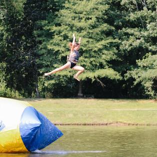 Iceberg, blob, trampoline, rope swing, log, paddle boards, boating