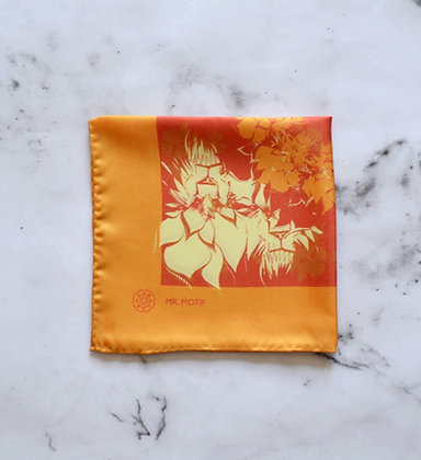 Sun Lion Patterned Silk Pocket Square - folded