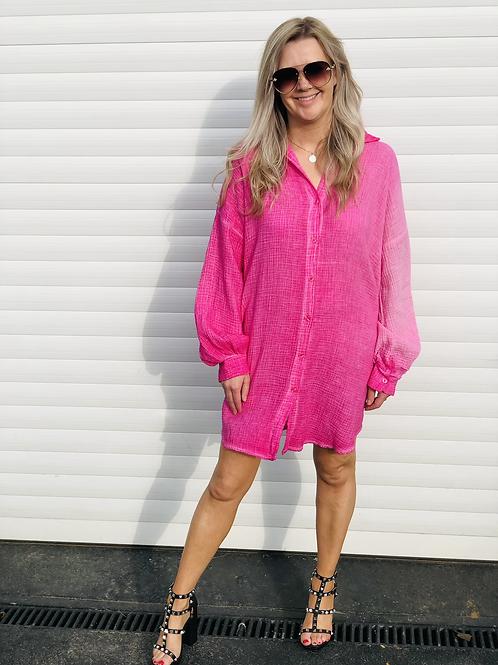 Nadia cheesecloth pink shirt dress