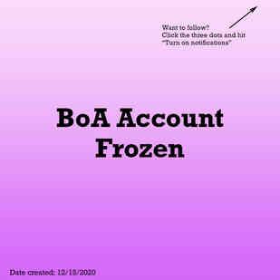 Bank of America Frozen