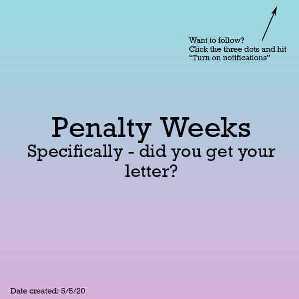 Penalty Weeks Letter
