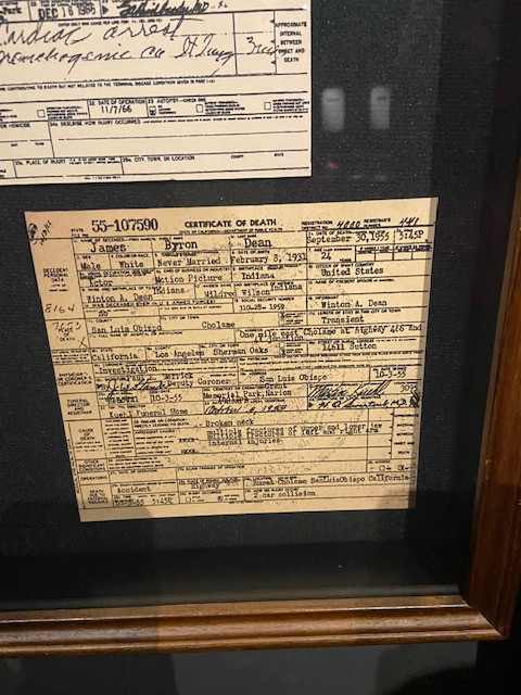 The death certificate of the famous