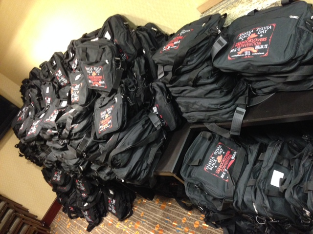 Just some of the registration bags