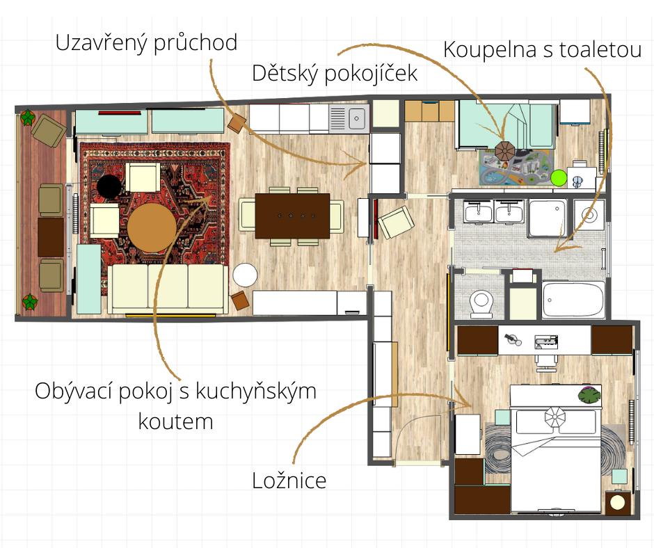 Prozkoumejte uzavřený průchod, kde vznikla skvělá nika pro další prostor kuchyňského koutu.
