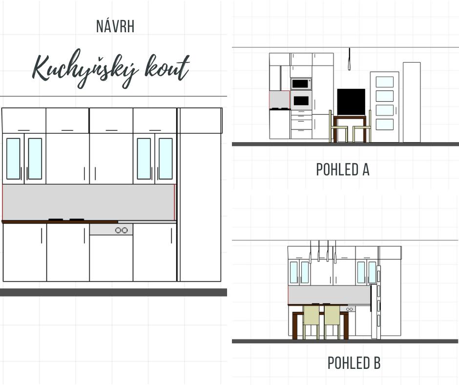 Vyřešení úložného prostoru pomocí mnoha skříněk kuchyně. Součástí kuchyně je taky jídelní stůl s elektrickým krbem.