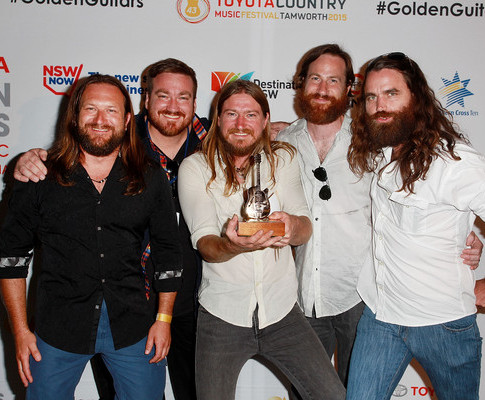 2015 Golden Guitar for 'Qantaslink New Talent of The Year' during the 43rd Country Music Awards of Australia with Adam Eckersley Band
