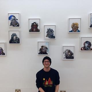 At Maggi Hambling's exhibition, Malborough Fine Art, London, 2018.