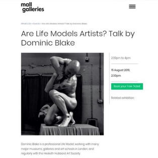 Are life models artists?    Lecture, Mall Galleries, 2019
